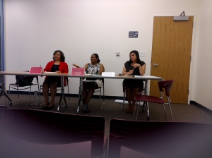 Financial education speaker and author Shay Olivarria speaks during the panel on financial education for Latino youth.