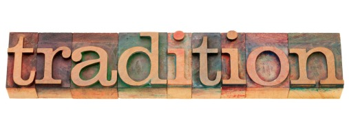 tradition word in letterpress type